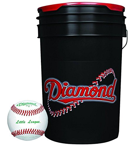 Diamond 6-Gallon Ball Bucket with 30 DLL-1 Little League Baseballs by Diamond Sports