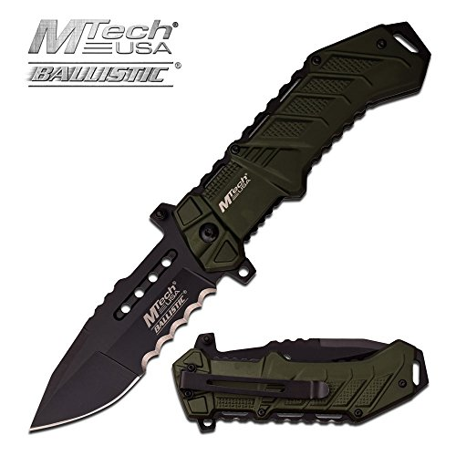 Rogue River Tactical Exclusive Mtech USA Tactical Knives Spring Assisted Folding Pocket Knife Heavy Duty Military Grade Combat with Belt Clip (Green) Review