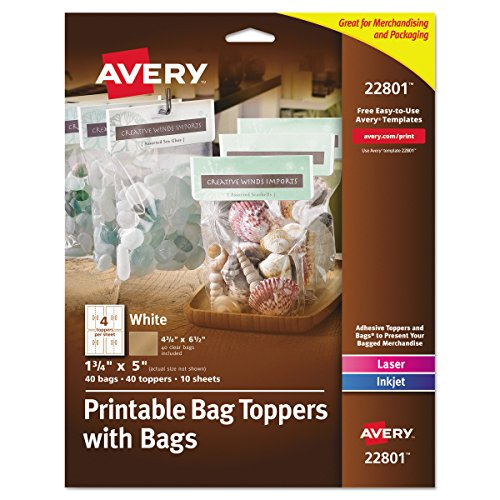 Avery 22801 Printable Bag Toppers with Bags, 1 3/4 x 5, White (Pack of 40) -