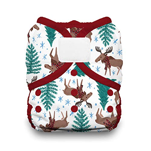 Thirsties Duo Wrap Cloth Diaper Cover, Hook and Loop Closure, Merry Moose-mas Size One (6-18 lbs)