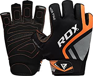 RDX Gym Weight Lifting Gloves Cowhide Leather Lycra Powerlifting Training Bodybuilding Fitness Workout