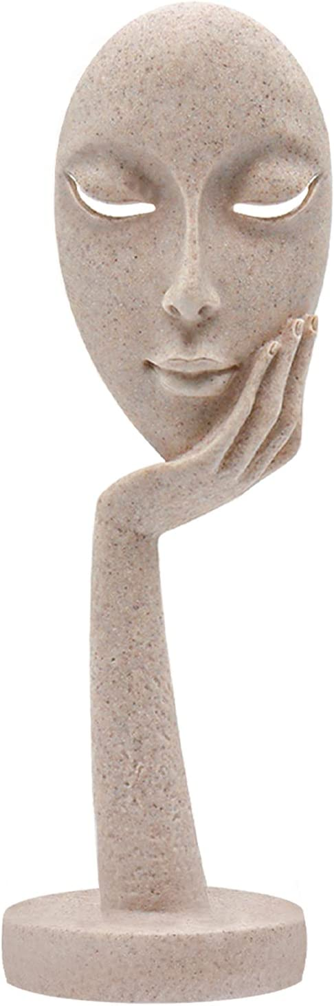 Aboxoo Modern and Simple Woman Face Statues Thinker Lady Sculpture Figure Figurine Resin Carving for Home Office Bedroom Decor (Sandy, L)