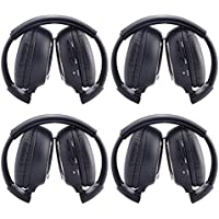 OUKU®4PCS 4 Pack of Two Channel Foldable Universal Rear Entertainment System Infrared Headphones Wireless IR DVD Player Hedrest Monitor Roof Mount Head Phones for in Car TV Video Audio Listening Black