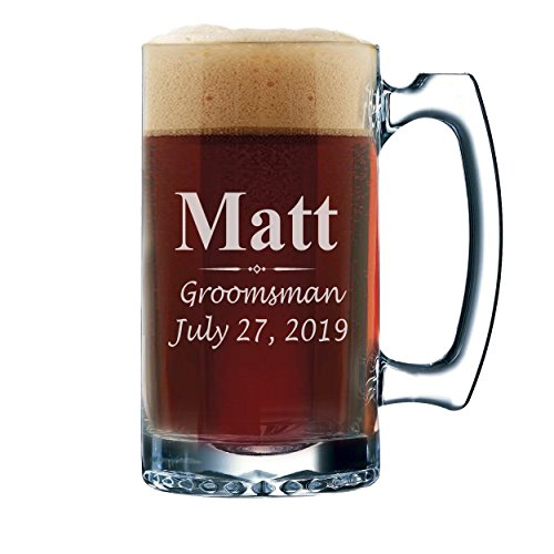 Set of 3, Set of 5 Set of 7 and more Personalized Groomsmen Beer Glasses - Custom Engraved Groom, Best Man Gift Mugs - 3 Lines Style 12 oz (7) by My Personal Memories (Image #1)