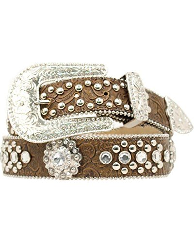 - Nocona Belt Co. Women's Blazin Roxx Concho Studded Floral Embossed Western Brown Large