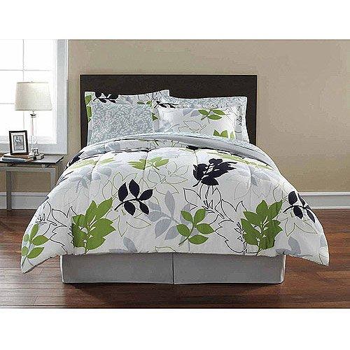 Amazon.com: Mainstays Leaf Toss Complete Bedding Set, Black/Green