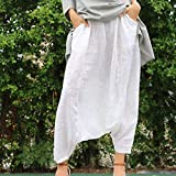 Linen white harem pants