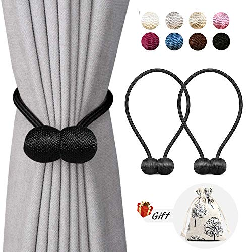 LUYIMIN Magnetic Curtain Tiebacks, Curtain Holdbacks Black, The Most Convenient Drape Tie Backs Decorative Drapery Holdbacks Rope Holder for Home Kitchen Office Window Sheer Blackout Drapes, 2PACK (Tie Backs Drapery)