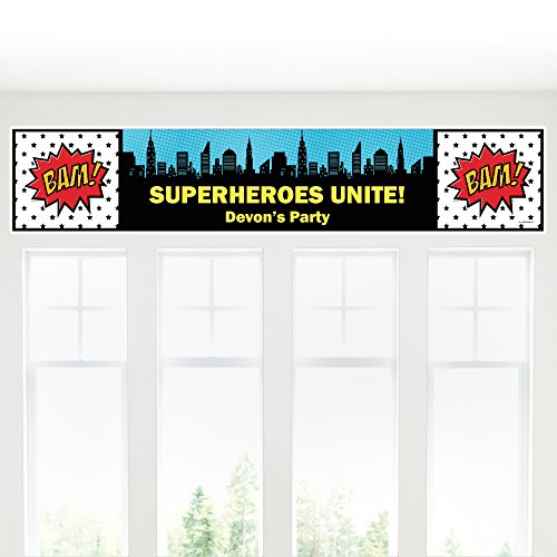Big Dot of Happiness Custom BAM! Superhero - Personalized Party Decorations Party Banner