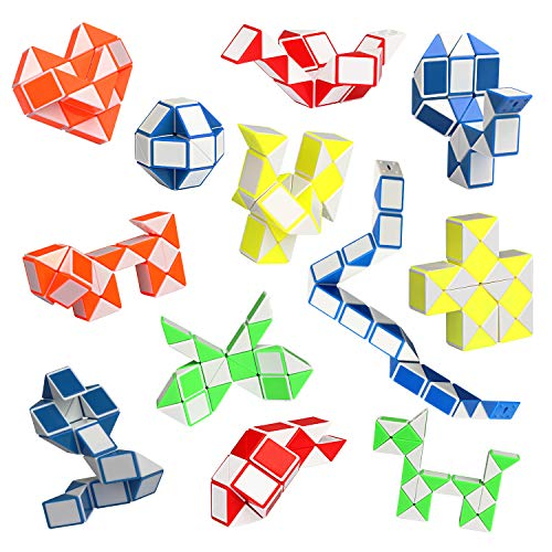 Ganowo12Pack Fidget Snake Cube Mini Twist Puzzle -Party Favors for Kids - Party Toys,Goody Bag Fillers, Carnival Prizes, Birthday Gift-Kid Brain Teaser Puzzle Pack Easter Stocking Stuffers