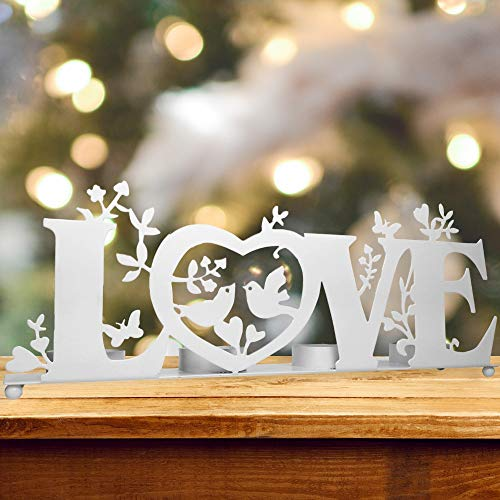 BANBERRY DESIGNS Love Candle Holder - Tea Light Candle Holder with Love, Birds and Vines - Wedding Bridesmaids - White Washed Finish- Valentine's Day -