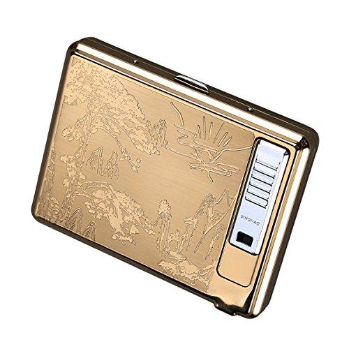Moonwbak Cigarette Case Lighter, Metal Full Pack 20 Regular Cigarettes Box Holder USB Rechargeable Cigar Lighter Flameless Windproof with USB Cable Best for Birthday Gifts (Pinus)