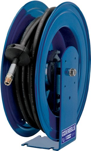 Coxreels E-HPL-350 Spring Rewind Enclosed Cabinet Hose Reel for grease: 3/8