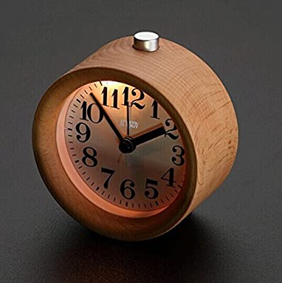 ECVISION® Classic Small Round Silent table Desktop Alarm Clock in beech Wood