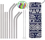 SUYEPER Set of 8 Stainless Steel Straws with Elephant Bag & Silicone Straw Tips for 30oz and 20oz Tumblers Cups Mugs, Ozark Trail, Cold Beverage, Cocktail or Juice