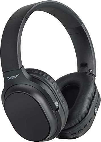 Betron AMT30 Wireless Bluetooth Headphones with Microphone, Foldable, Portable Over Ear Headphones, Powerful Bass, Noise Isolating, Compatible with iPhone, iPad, MP3 Players, Android Devices and More