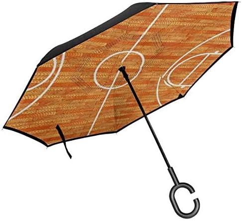 バスケットボールコート ユニセックス二重層防水ストレート傘車逆折りたたみ傘C形ハンドル付き