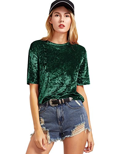 Romwe Women's Velvet Raw Edge O Neck Short Sleeve Casual T-Shirt Tee Top Blouse Green L (Velvet Womens Clothing)