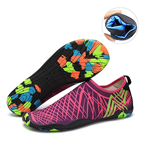 Water Shoes Mens Womens Beach Swim Shoes Quick-Dry Aqua Socks Pool Shoes for Surf Yoga Water Aerobics Purple 9 B(M) US Women / 8 D(M) US Men
