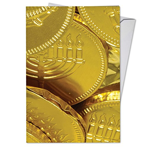 Chocolate Thank You Coins (B5007AHTG Box Set of 12 Going for the Gelt Hanukkah Thank You Greeting Cards Feature Golden Chocolate Coins for Hanukkah, with Envelopes)