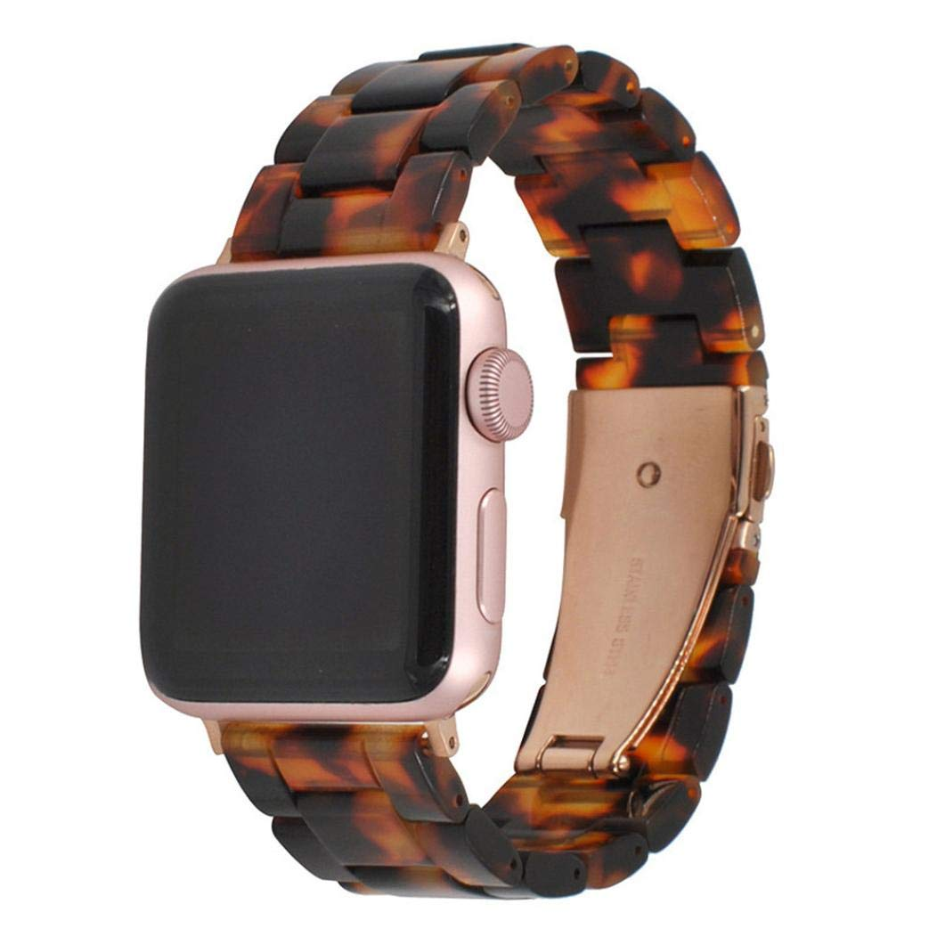 For Iwatch Apple watch,Tiean testudinarious Fashion Creative Luxury comfortable Soft Crystal Resin Bling twinkling Agate Beads Watch Band bracelet Wrist Strap 38MM Men Women Children Teens (brown)