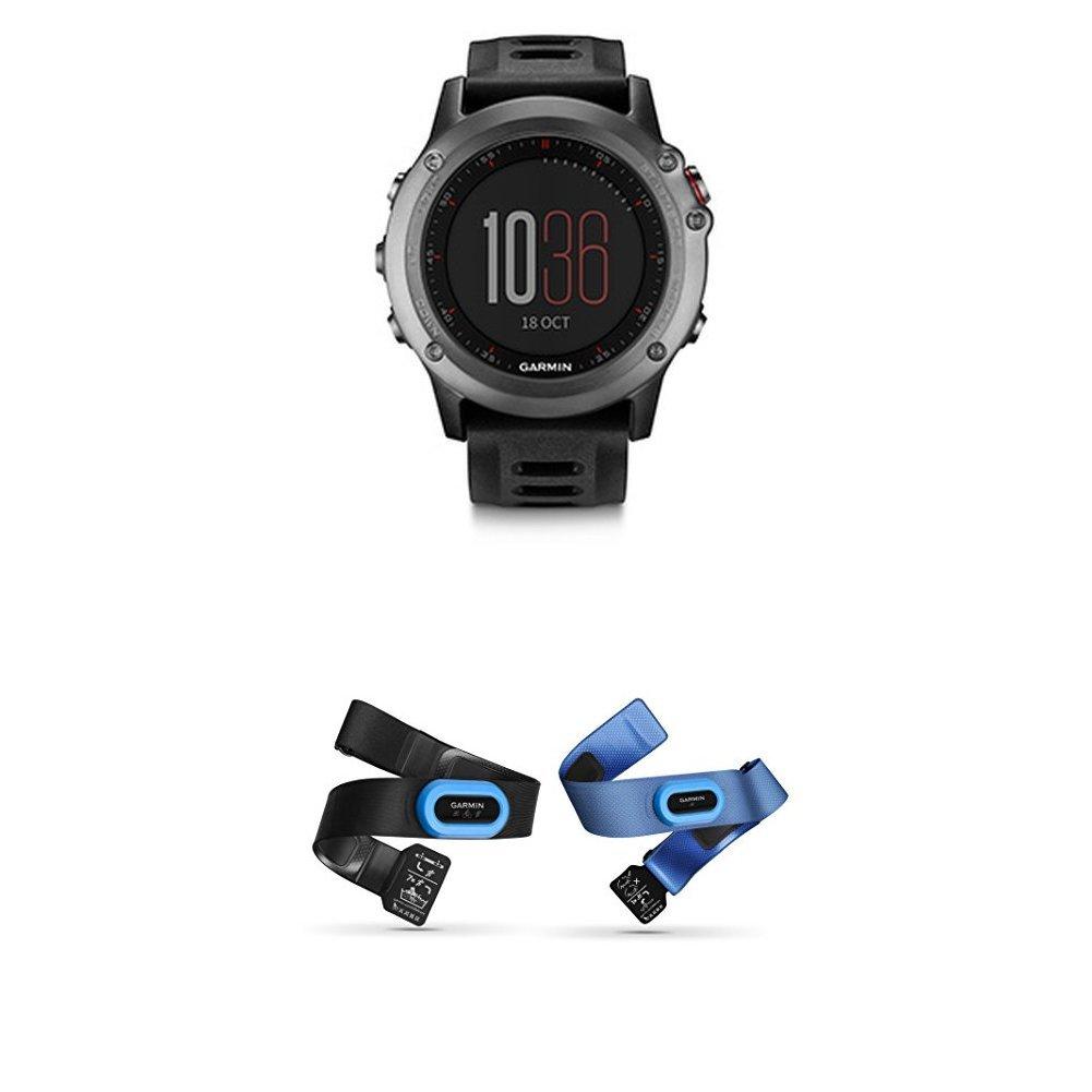 Garmin fenix 3 GPS Watch, Gray and HRM-Tri and HRM-Swim Accessory Bundle by
