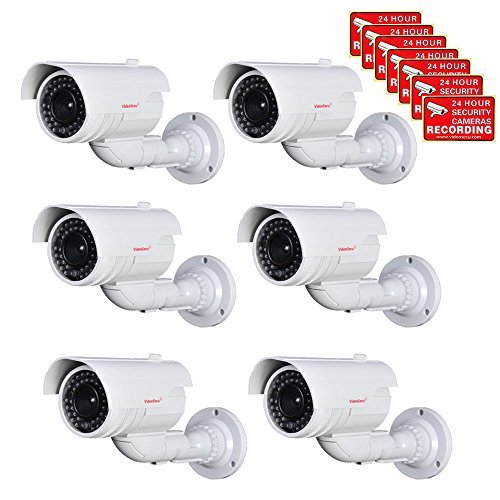 VideoSecu 6 Pack Imitation Fake Dummy Bullet Security Cameras Simulated Decoy Infrared IR LED with Blinking Light DMYIRV2 WS5