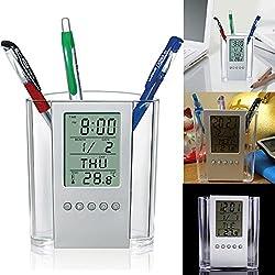LING'S SHOP NEW Digital Desk Pen/Pencil Holder LCD Alarm Clock Thermometer&Calendar Display