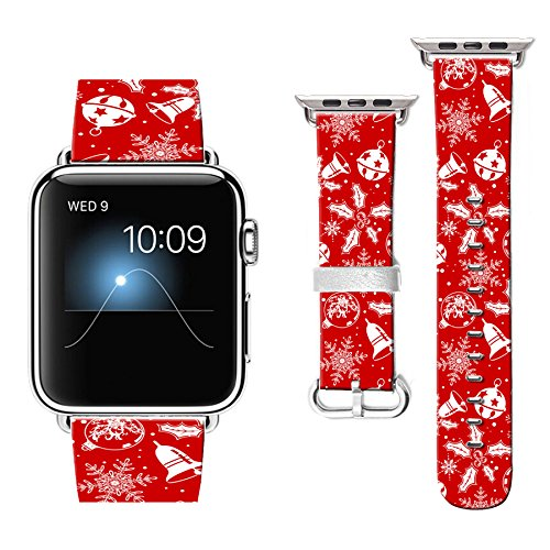 (Compatible for Apple Watch Band 42mm + Stainless Steel Connector FTFCASE Bands for iWatch 42mm - Christmas Bells Tile)