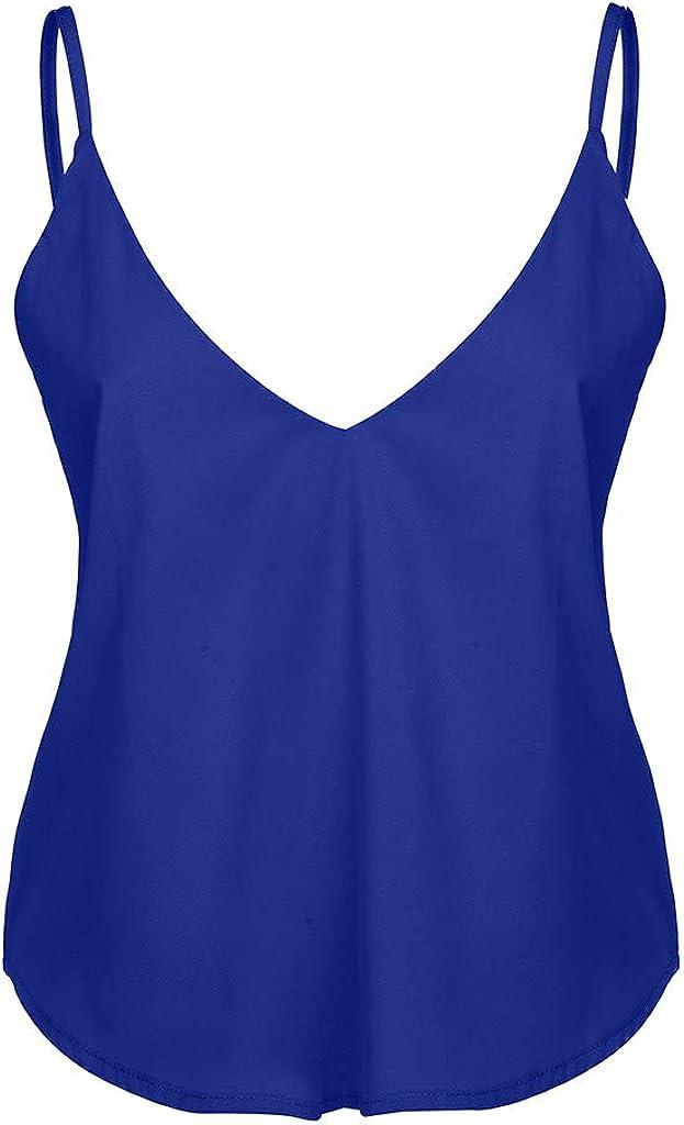 OPAKY Camisa Sin Mangas con Cuello en V Blusa para Mujer ...