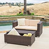 Great Deal Furniture Westlake Outdoor Brown PE Wicker Loveseat & Ottoman Set For Sale
