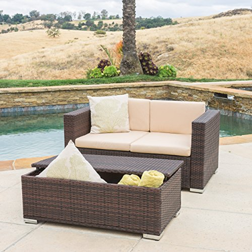 Westlake Outdoor Brown PE Wicker Loveseat & Ottoman Set by Great Deal Furniture