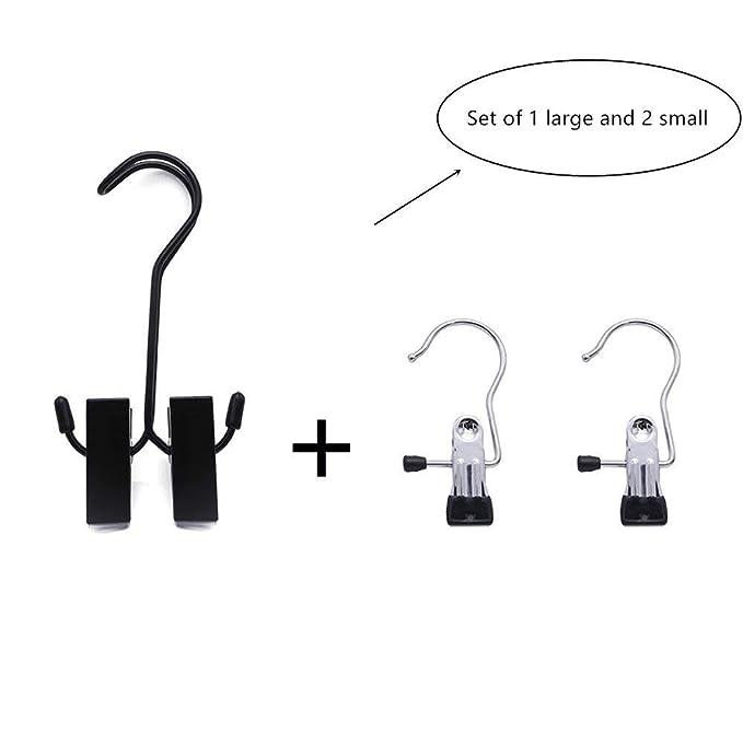 GKONGU Kit di Ganci in acciaio con clip in gomma per appendere abiti e scarpe Utile per viaggi e campeggio 1 Gancio grande 2 Ganci piccoli