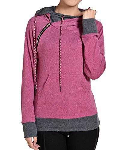 AJ FASHION Women's Pullover Hoodie Oblique Zipper Heather Double Hooded Sweatshirt, Raspberry , Large (Double Hooded Sweatshirt compare prices)
