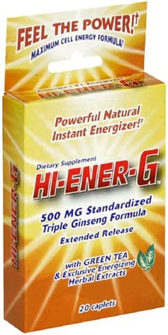 Windmill Health Products Hi-Ener-G Triple Ginseng Supplement Caplets, 500 mg, 20-Count Packages Pack of 3
