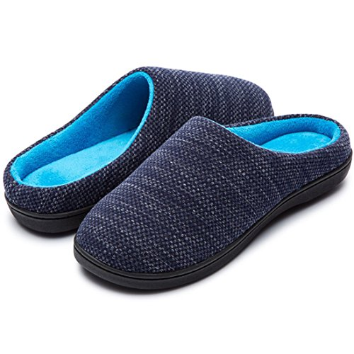 RockDove Women's Two-Tone Memory Foam Slipper (7-8 B(M) US, Denim/Sky Blue)