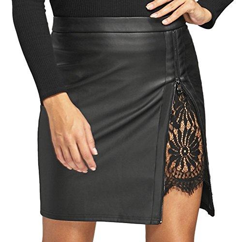 lgante Sexy en pli Court Jupe Mini Jupe Courte Noir Haute Mouvement Taille Jupe opdamyi Mode Courte Jupe Cuir Dentelle Dames Jupe Oqq07
