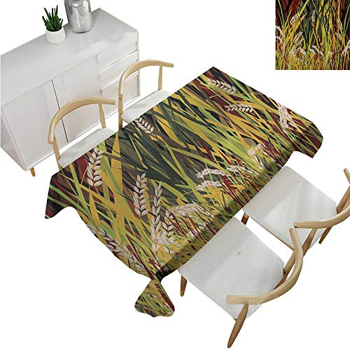 Nature,Rectangular Table Cover,Reeds Dried Leaves Wheat River Wild Plant Forest Farm Country Life Art Print Image,Tablecloth for Rectangle Table 70