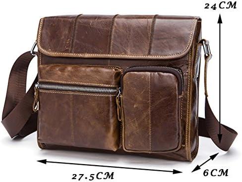 Zhuhaitf Mens Multiple Pocket Cowhide Leather Shoulder Messenger Bag Briefcases