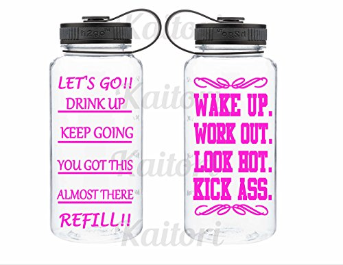 Inspirational Water Bottle- Workout Water Bottle- Wide Mouth Tritan 34oz Water Bottle
