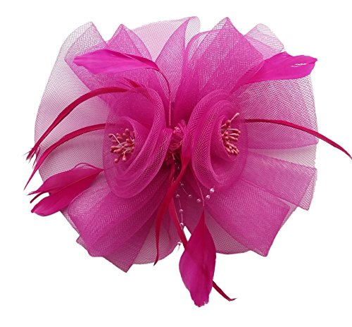 Fascinator Hair Clip Headband Feather Flower Pillbox Hat Weeding Tea Party B Rose Red Fuschia