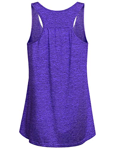 Miusey Yoga Shirts for Women,Ladies Sleeveless Tank Tunic Tops Petite Workout Gym Soft Sport Wear Running Round Neck Cool Activewear Quick Dry Compression Under Outfit for Athlete Blue M by Miusey (Image #1)