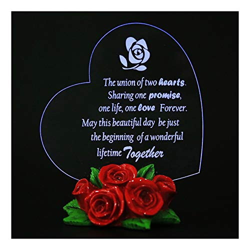 Giftgarden LED Heart with Rose Decor Cake Toppers Wedding Gift, Fiançailles Gfits, Vialentine Gift,