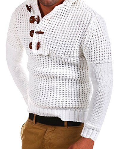 (Mens Hooded Pullover Henley Sweater Casual Knit Slim Fit Outwear Top)