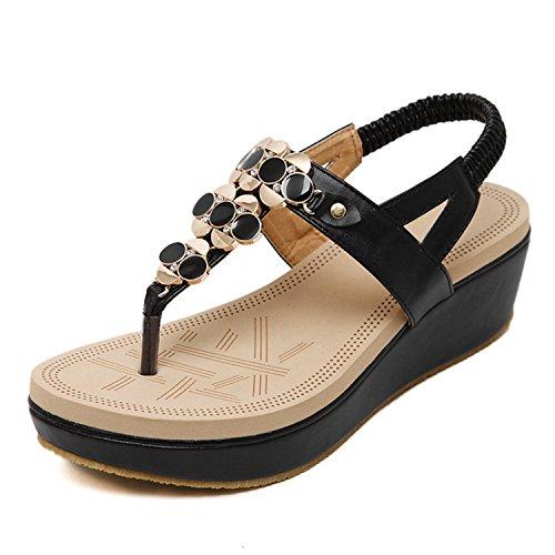 Price comparison product image Women Platform Sandals Fashion Wedge Sandals Flip Flops Women's Sandals Ladies Brand Shoes ZH2355 Black 5.5