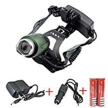 Minsk CREE XM-L T6 LED Zoom Headlamp 3000Lm Torch light Head lamp Rechargeable (included 2 x 4200mAh 18650 Battery + charger + Car Charger)(Green)