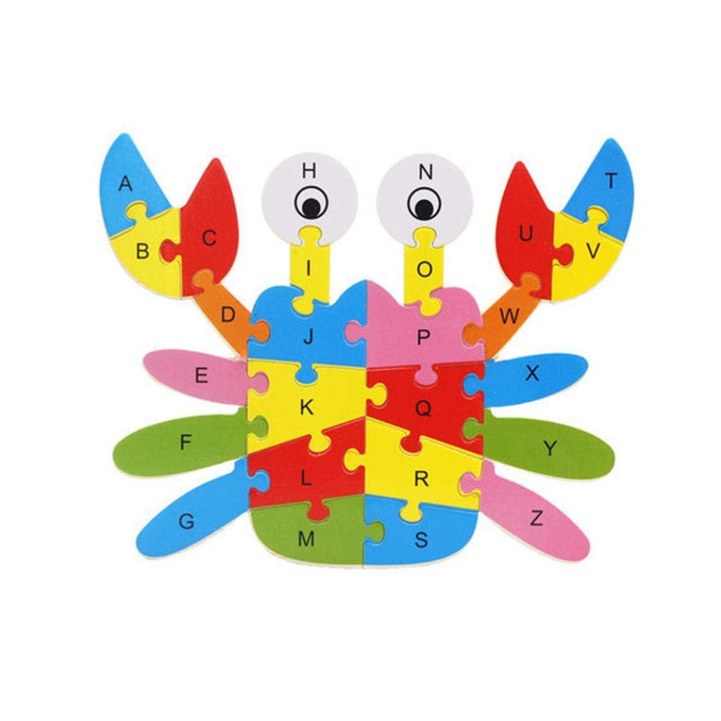 Roysberry Toys - Wooden Educational Preschool Toys Crab 3D Puzzle Shape Color Recognition Geometric Board Block Alphabet Puzzles Toys - Birthday Gift Toy Jigsaw Puzzles for Kids(26 pcs)