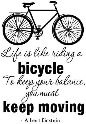 ZGQQQ La Vida Es como Montar Una Bicicleta Pegatinas De Pared K Sala De Estar Decoración para El Hogar Patrón De La Bicicleta DIY Vinyl Extraíble Tatuajes De Pared: Amazon.es: Hogar