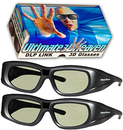Active Shutter 3d Glasses (DLP LINK 144 Hz Ultra-Clear HD 2 PACK 3D Active Rechargeable Shutter Glasses for All 3D DLP Projectors - BenQ, Optoma, Dell, Mitsubishi, Samsung, Acer, Vivitek, NEC, Sharp, ViewSonic & Endless Others!)