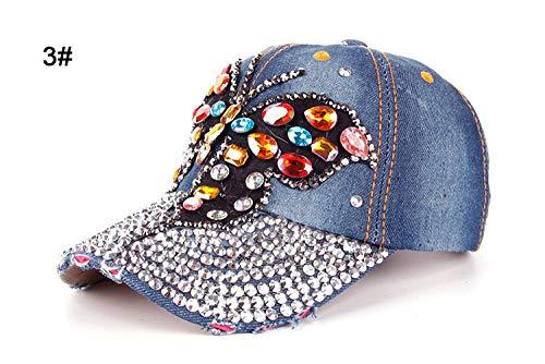 Cap Clothes,Cap Amplifier Cap Haircut Hat Cap Fashion Leisure Cross Cap Rhinestones Ab Butterfly Jean Cotton Caps Baseball Caps B217